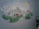 Kleine Feenwelt  -  ca. 1,80 m breites ovales Wandbild nach dem Gedächtnis frei gestaltet