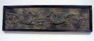 Relief 118 mal 30 cm Schwanenornamentik- Kunststoff Stoff u Acrylfarben